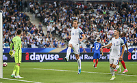 Harry Kane (Tottenham Hotspur) of England scores from the penalty spot and celebrates making it 2 2 during the International Friendly match between France and England at Stade de France, Paris, France on 13 June 2017. Photo by David Horn/PRiME Media Images.