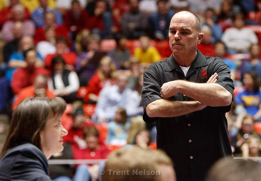 Trent Nelson  |  The Salt Lake Tribune.Utah coach Greg Marsden stands near a judge after the score on Stephanie McAllister's floor routine drew boos from the crowd. Utah vs. Stanford, college gymnastics, Friday, February 24, 2012 in Salt Lake City, Utah.