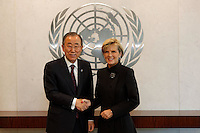 New York, Nov 19, 2014. Australian Foreign Minister Julie meets with UN Secretary-General HE Ban Ki-moon at UN Headquarters.  photo by Trevor Collens.