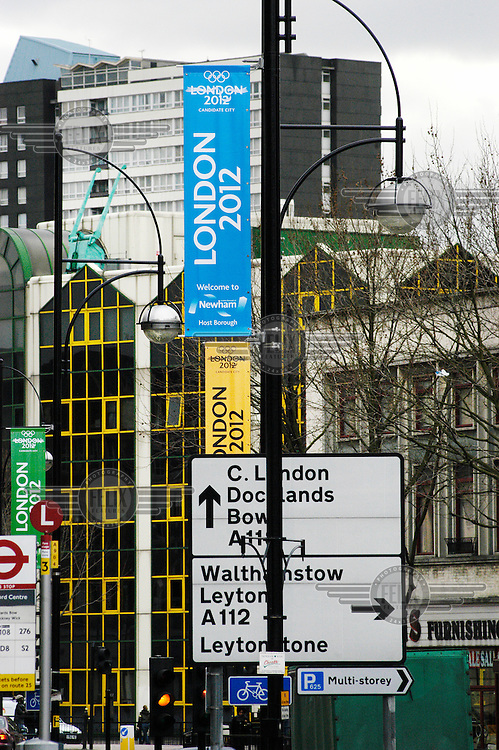 Street signs advertising London's 2012 Olympic Games bid, which is centred around Stratford and Newham in the East End.