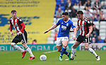 Che Adams of Birmingham City tackled by Enda Stevens of Sheffield Utd  during the championship match at St Andrews Stadium, Birmingham. Picture date 21st April 2018. Picture credit should read: Simon Bellis/Sportimage