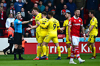 Fleetwood Town's Harry Souttar reacts after being shown a red card by Referee Sebastian Stockbridge<br /> <br /> Photographer Richard Martin-Roberts/CameraSport<br /> <br /> The EFL Sky Bet League One - Barnsley v Fleetwood Town - Saturday 13th April 2019 - Oakwell - Barnsley<br /> <br /> World Copyright &copy; 2019 CameraSport. All rights reserved. 43 Linden Ave. Countesthorpe. Leicester. England. LE8 5PG - Tel: +44 (0) 116 277 4147 - admin@camerasport.com - www.camerasport.com