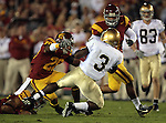 Los Angeles, CA 11/25/06 - Darius Walker is stopped at the line of scrimmage by USC defenders<br />