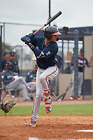 Atlanta Braves Juan Morales (19) during a Minor League Spring Training game against the New York Yankees on March 12, 2019 at New York Yankees Minor League Complex in Tampa, Florida.  (Mike Janes/Four Seam Images)