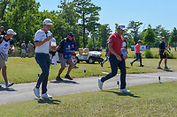 Cameron Smith (USA) and Patrick Cantlay (USA) head down 8 during Round 1 of the Zurich Classic of New Orl, TPC Louisiana, Avondale, Louisiana, USA. 4/26/2018.<br /> Picture: Golffile | Ken Murray<br /> <br /> <br /> All photo usage must carry mandatory copyright credit (&copy; Golffile | Ken Murray)