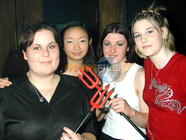 Sarah Holdcroft, Grangebellew, Carman Lee, Dunleer, Claire McMorrow, Castlebellingham and Colette McDonnell, Grangebellew enjoying a night out in The Gate nightclub..Picture Paul Mohan Newsfile