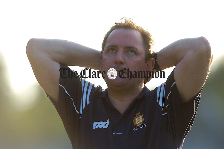 Clare Joint Manager Michael Brennan laments on another missed chance at Cusack park. Photograph by John Kelly.
