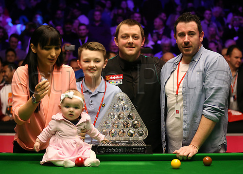 21st January 2018, Alexandra Palace, London, England; 2018 Dafabet Masters Final, Mark Allen versus Kyren Wilson; Mark Allen poses with his family after defeating Kyren Wilson 10-7