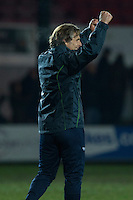 Wycombe manager Gareth Ainsworth celebrates the win at full time of the Sky Bet League 2 match between Newport County and Wycombe Wanderers at Rodney Parade, Newport, Wales on 22 November 2016. Photo by Mark  Hawkins.