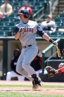 Toledo Mudhens first baseman Ryan Strieby #55 during a game against the Rochester Red Wings at Frontier Field on June 2, 2011 in Rochester, New York.  Rochester defeated Toledo 8-0.  Photo By Mike Janes/Four Seam Images