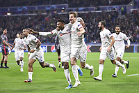 11 MEMPHIS DEPAY (OL) - 17 JEFF REINE ADELAIDE (OL) - 03 JOACHIM ANDERSEN (OL) - 29 LUCAS TOUSART (OL) - JOIE<br /> Lione 5-11-2019 <br /> Olympique Lyon - Benfica <br /> Champions League 2019/2020<br /> Foto Anthony Bibard  / Panoramic / Insidefoto <br /> Italy Only
