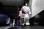 Stockholm 2014-09-27 Ishockey Hockeyallsvenskan AIK - Mora IK :  <br /> Moras m&aring;lvakt Jacob Johansson p&aring; v&auml;g ut fr&aring;n omkl&auml;dningsrummet inf&ouml;r tredje perioden i matchen mellan AIK och Mora <br /> (Foto: Kenta J&ouml;nsson) Nyckelord:  AIK Gnaget Hockeyallsvenskan Allsvenskan Hovet Johanneshovs Isstadion Mora MIK portr&auml;tt portrait inomhus interi&ouml;r interior