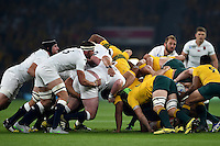 The England and Australia packs engage at a scrum. Rugby World Cup Pool A match between England and Australia on October 3, 2015 at Twickenham Stadium in London, England. Photo by: Patrick Khachfe / Onside Images