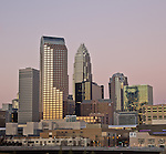 The uptown Charlotte skyline at dusk. The Charlotte NC skyline is one of the the best of any southern city. These recent photos of the skyline show some of the buildings in the skyline.