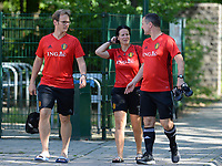 20170717 - RIJEN , NETHERLANDS :  Belgian head coach Ives Serneels (right) , goalkeeper keeper coach Sven Cnudde (left)  and assistant coach Tamara Cassimon (middle) pictured during a training session of the Belgian national women's soccer team Red Flames on the pitch of Rijen , on Tuesday 18 July 2017 in Rijen . The Red Flames are at the Women's European Championship 2017 in the Netherlands. PHOTO SPORTPIX.BE | DAVID CATRY