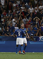 International friendly football match France vs Italy, Allianz Riviera, Nice, France, June 1, 2018. <br /> Italy's Captain Leonardo Bonucci (r) celebrates after scoring with his teammate Mario Balotelli (l) during the international friendly football match between France and Italy at the Allianz Riviera in Nice on June 1, 2018.<br /> UPDATE IMAGES PRESS/Isabella Bonotto