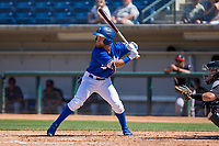 Rancho Cucamonga Quakes Saige Jenco (9) at bat against the Lake Elsinore Storm at LoanMart Field on April 22, 2018 in Rancho Cucamonga, California. The Storm defeated the Quakes 8-6.  (Donn Parris/Four Seam Images)