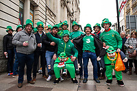 Pictured: Irish Fans during the Guinness six nations match between Wales and Ireland at the Principality Stadium, Cardiff, Wales, UK.<br /> Saturday 16 March 2019