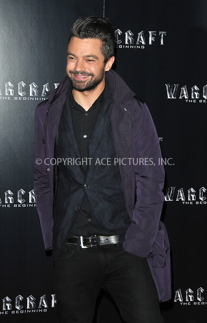 WWW.ACEPIXS.COM<br /> <br /> May 25 2016, London<br /> <br /> Dominic Cooper arriving at a special screening of 'Warcraft: The Beginning' at BFI IMAX on May 25, 2016 in London, England<br /> <br /> By Line: Famous/ACE Pictures<br /> <br /> <br /> ACE Pictures, Inc.<br /> tel: 646 769 0430<br /> Email: info@acepixs.com<br /> www.acepixs.com
