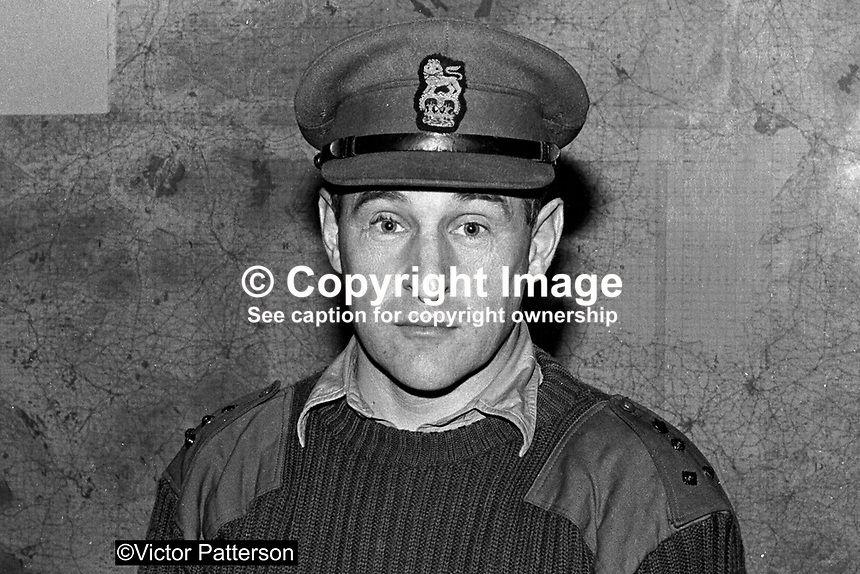 Brigadier Frank Kitson, British military 'counter insurgency' expert, who served in N Ireland. Ref: 197111450. LHL 452/70.<br /> <br /> Copyright Image from Victor Patterson,<br /> 54 Dorchester Park, <br /> Belfast, UK, BT9 6RJ<br /> <br /> t1: +44 28 9066 1296 (from Rep of Ireland 048 9066 1296)<br /> t2: +44 28 9002 2446 (from Rep of Ireland 048 9002 2446)<br /> <br /> m: +44 7802 353836<br /> <br /> e: victorpatterson@me.com<br /> www.victorpatterson.com<br /> <br /> Please see my Terms and Conditions of Use at www.victorpatterson.com. It is IMPORTANT that you familiarise yourself with them.<br /> <br /> Images used on the Internet must be visibly watermarked i.e. &copy; Victor Patterson<br /> within the body of the image and copyright metadata must not be deleted. Images <br /> used on the Internet have a size restriction of 4kbs and will be chargeable at current<br />  NUJ rates unless agreed otherwise.<br /> <br /> This image is only available for the use of the download recipient i.e. television station, newspaper, magazine, book publisher, etc, and must not be passed on to any third <br /> party. It is also downloaded on condition that each and every usage is notified within 7 days to victorpatterson@me.com<br /> <br /> The right of Victor Patterson to be identified as the author is asserted in accordance with The Copyright Designs And Patents Act (1988). All moral rights are asserted.
