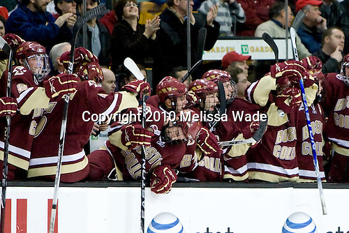 Brian Dumoulin (BC - 2), Philip Samuelsson (BC - 5), Barry Almeida (BC - 9), Steven Whitney (BC - 21), Joe Whitney (BC - 15), Pat Mullane (BC - 11) - The Boston College Eagles defeated the Boston University Terriers 4-3 on Monday, February 8, 2010, at the TD Garden in Boston, Massachusetts, to take the 2010 Beanpot.