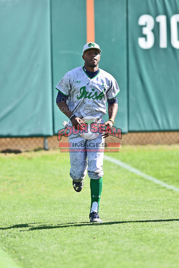 Notre Dame Fighting Irish outfielder Torii Hunter Jr. (2) runs between innings during a game against the Clemson Tigers during game one of a double headers at Doug Kingsmore Stadium March 14, 2015 in Clemson, South Carolina. The Tigers defeated the Fighting Irish 6-1. (Tony Farlow/Four Seam Images)