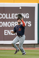 Bowling Green Hot Rods outfielder Garrett Whitley (24) makes a catch during the Midwest League baseball game against the Lansing Lugnuts on June 29, 2017 at Cooley Law School Stadium in Lansing, Michigan. Bowling Green defeated Lansing 11-9 in 10 innings. (Andrew Woolley/Four Seam Images)