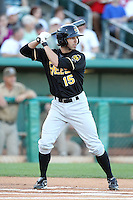 Tyson Auer #15 of the Salt Lee Bees plays in a Pacific Coast League game against the Tucson Padres  at Kino Stadium on April 17, 2011  in Tucson, Arizona. .Photo by:  Bill Mitchell/Four Seam Images.