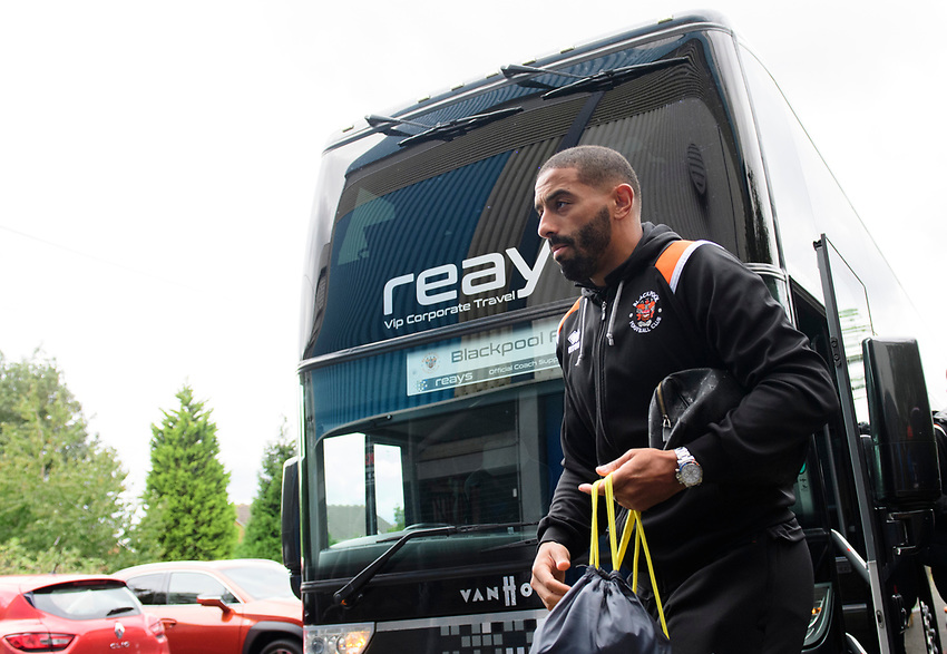 Blackpool's Liam Feeney gets off the team bus after arriving at the ground<br /> <br /> Photographer Chris Vaughan/CameraSport<br /> <br /> The EFL Sky Bet League One - Coventry City v Blackpool - Saturday 7th September 2019 - St Andrew's - Birmingham<br /> <br /> World Copyright © 2019 CameraSport. All rights reserved. 43 Linden Ave. Countesthorpe. Leicester. England. LE8 5PG - Tel: +44 (0) 116 277 4147 - admin@camerasport.com - www.camerasport.com