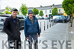 Parking Restrictions: John Walsh Ennismore & Billy Buckley, Finuge standing by  the seven parking spaces restricted in the Square Listowel on Monday last.