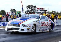 Aug. 18, 2013; Brainerd, MN, USA: NHRA pro stock driver Larry Morgan during the Lucas Oil Nationals at Brainerd International Raceway. Mandatory Credit: Mark J. Rebilas-