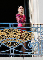 Fan Bing Bing during a photoshoot at Martinez Hotel's balcony during the 66th Cannes Film Festival