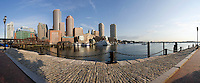 Rowes Wharf panorama view from Fan Pier, Boston, MA