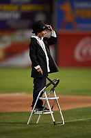 "A young fan leads the singing of ""Take Me Out to the Ball Game"" between innings of a California League game between the Visalia Rawhide and the Lancaster JetHawks at The Hangar on May 17, 2018 in Lancaster, California. Lancaster defeated Visalia 11-9. (Zachary Lucy/Four Seam Images)"