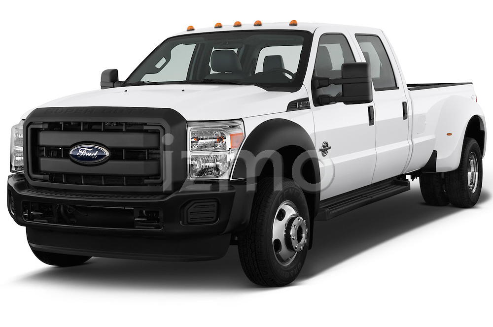 Front three quarter view of a 2013 Ford F-450 XLT Super Duty Crew Cab Truck.