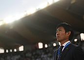 February 1st 2019; Adu Dhabi, United Arab Emirates; Asian Cup football final, Japan versus Qatar; Hajime Moriyasu, head coach of Japan reacts ahead of the final match