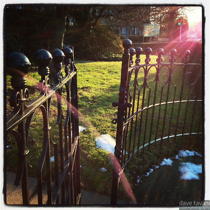 The sun shines through an open gate on Johnson Street in the Germantown section of Philadelphia on January 7, 2013.
