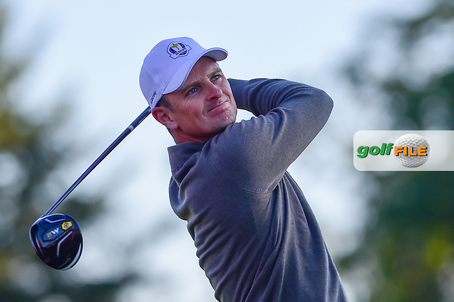 Justin Rose (GBR) watches his tee shot on 3 during the Saturday morning foursomes at the Ryder Cup, Hazeltine National Golf Club, Chaska, Minnesota, USA.  10/1/2016<br /> Picture: Golffile | Ken Murray<br /> <br /> <br /> All photo usage must carry mandatory copyright credit (&copy; Golffile | Ken Murray)