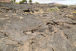 Solidified pahoehoe or ropey lava field, Tahiche village, Lanzarote, Canary Islands, Spain