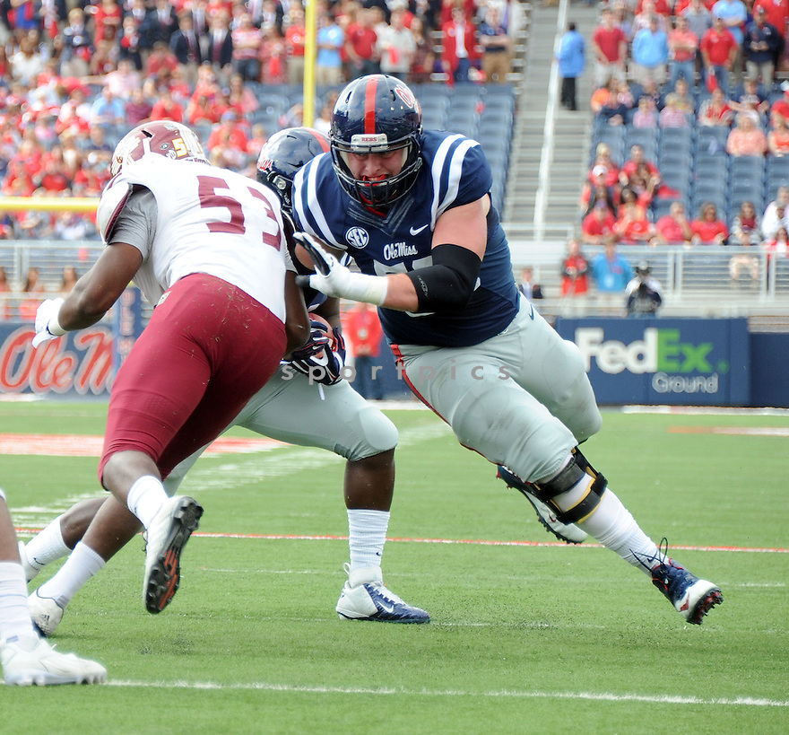 Ole Miss Rebels Sean Rawlings (50) during a game against the New Mexico State Aggies on October 10, 2015 at Vaught-Hemingway Stadium  in Oxford, MS. Ole Miss beat New Mexico State 52-3.
