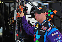Feb 29, 2008; Las Vegas, NV, USA; NASCAR Sprint Cup Series driver Denny Hamlin during practice for the UAW Dodge 400 at Las Vegas Motor Speedway. Mandatory Credit: Mark J. Rebilas-US PRESSWIRE