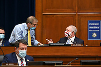 United States House Minority Whip Steve Scalise (Republican of Louisiana) and ranking member of the House Select Subcommittee on the Coronavirus Crisis, right, and United States Representative Jim Jordan (Republican of Ohio), wear protective masks while talking during a hearing in Washington, D.C., U.S., on Friday, July 31, 2020. Trump administration officials are set to defend the federal government's response to the coronavirus crisis at the hearing hosted by a House panel calling for a national plan to contain the virus. <br /> Credit: Erin Scott / Pool via CNP /MediaPunch