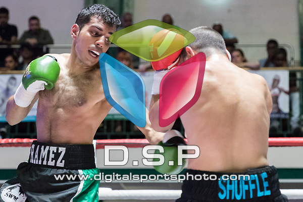 Ramez Mahmood vs Luke Flash 4x3 - Featherweight Contest During Goodwin Boxing: Full Throttle. Photo by: Simon Downing.<br /> <br /> Saturday 08th July 2017 - York Hall, Bethnal Green, London, United Kingdom.