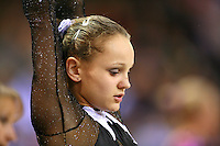 Oct 17, 2006; Aarhus, Denmark; Portrait is of Dariya Zgoba of Ukraine preparing for balance beam during women's gymnastics team competition at 2006 World Championships Artistic Gymnastics. Photo by Tom Theobald<br />
