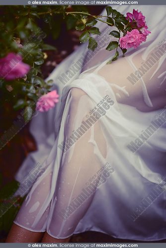Sexy woman legs covered with wet sheer white summer dress in rose garden artistic body part closeup