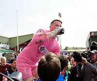 Lincoln City's Paul Farman chants into the microphone at the end of the game<br /> <br /> Photographer Chris Vaughan/CameraSport<br /> <br /> Vanarama National League - Lincoln City v Macclesfield Town - Saturday 22nd April 2017 - Sincil Bank - Lincoln<br /> <br /> World Copyright &copy; 2017 CameraSport. All rights reserved. 43 Linden Ave. Countesthorpe. Leicester. England. LE8 5PG - Tel: +44 (0) 116 277 4147 - admin@camerasport.com - www.camerasport.com