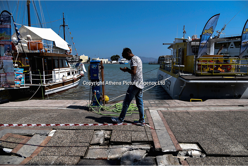 Pictured: The pavement has been damaged by the promenade in Kos town, Greece.<br /> Re: A 6.4 Richter Scale earthquake has hit the tourist island of Kos in Greece.