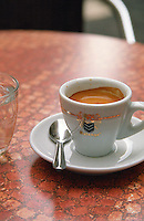 Cup of coffee. Cup of coffee on a table. Avignon. Rhone Valley, France