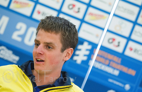23 AUG 2013 - STOCKHOLM, SWE - Jonathan Brownlee (GBR) of Great Britain answers questions at the ITU World Triathlon Series race media conference in Stockholm, Sweden (PHOTO COPYRIGHT © 2013 NIGEL FARROW, ALL RIGHTS RESERVED)