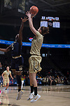 Elisa Penna (41) of the Wake Forest Demon Deacons shoots over Jackie Young (5) of the Notre Dame Fighting Irish during first half action at the LJVM Coliseum on December 31, 2017 in Winston-Salem, North Carolina.  The Fighting Irish defeated the Demon Deacons 96-73.  (Brian Westerholt/Sports On Film)
